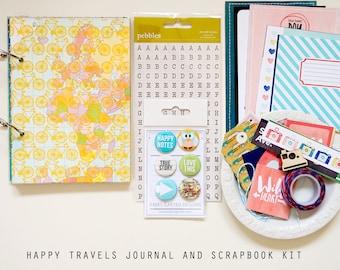 Happy Travels Mini Journal / Album & Scrapbook Kit