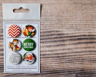 Badges / Flair buttons Merry Christmas - Vintage Christmas Badges