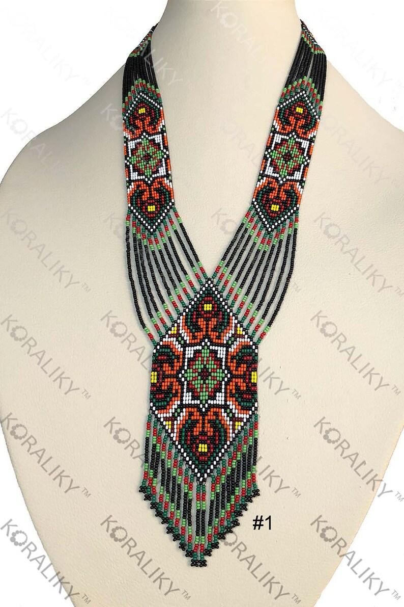 KORALIKY Weaving Traditional Ukrainian Folk Handmade Seed Beads NECKLACE Long Gerdan