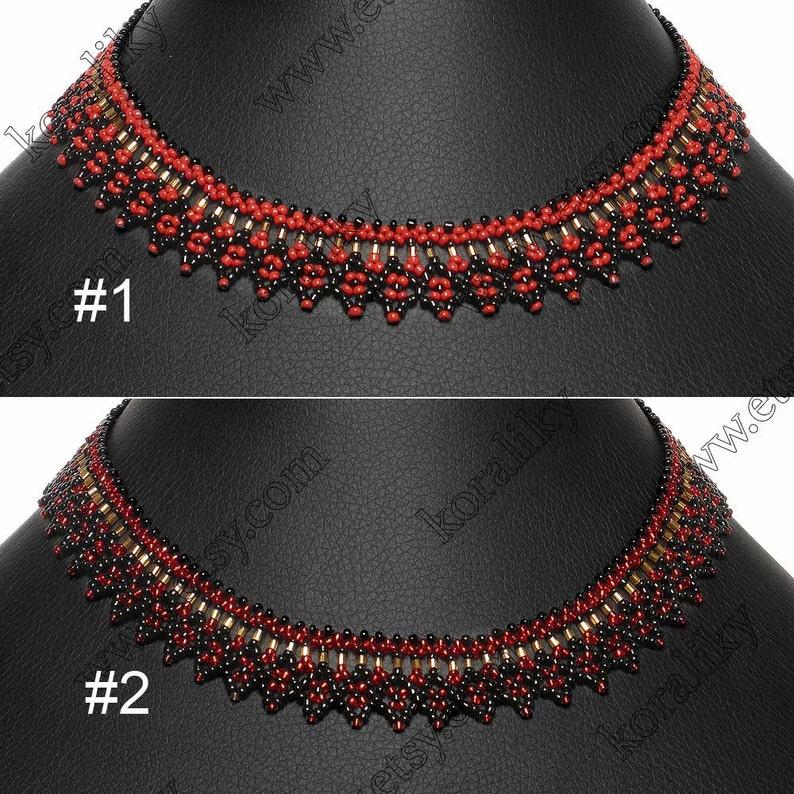 Black Red Gold Modern Ukrainian Handmade Glass Jewelry Beads Beaded NECKLACE Gerdan