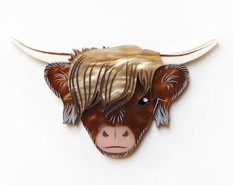 Laser cut brown acrylic highland bull cow aka heilan coo brooch