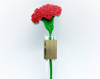 "Brooch ""What in Carnation?"" Carnation glittery flower in test tube vase - Acrylic Brooch"