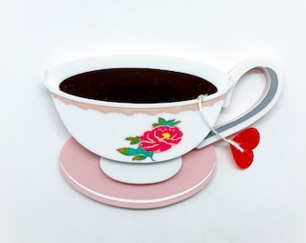 Sweet-tea Darling Mothers Day Teacup with floral pattern and heart teabag - Acrylic Brooch