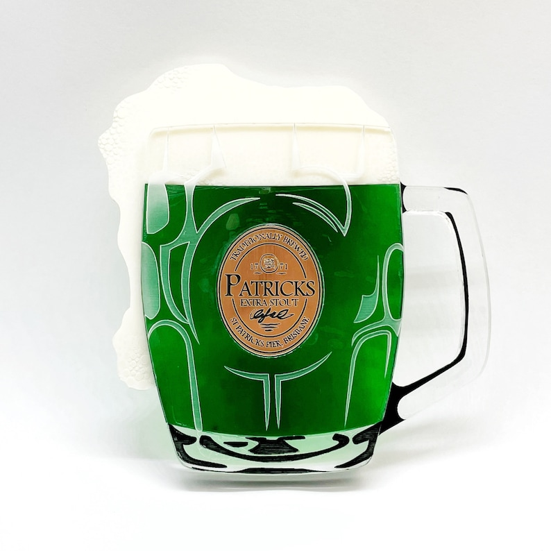 St Patricks Day Green Beer lager in stein mug made from image 0