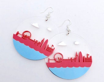 LDN Drop Earrings London skyline acrylic Pink raspberry and Blue
