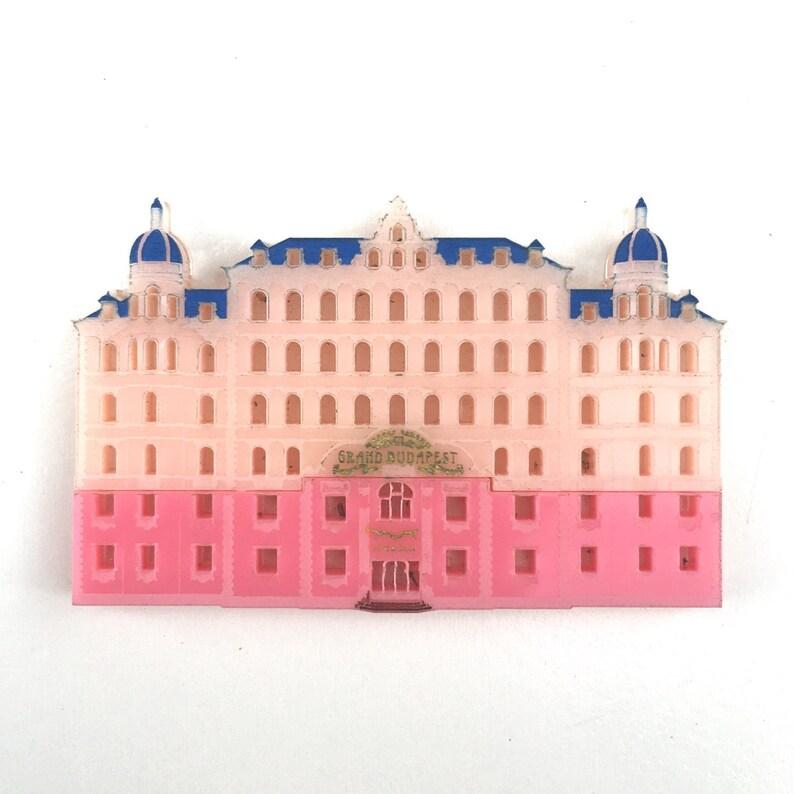 Grand Budapest Hotel pink layered laser cut acrylic brooch image 0
