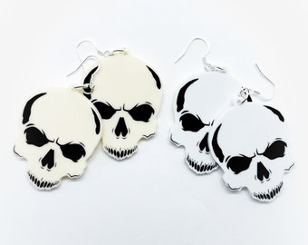 Skull Drop Earrings white and ivory/cream acrylic Halloween spooky