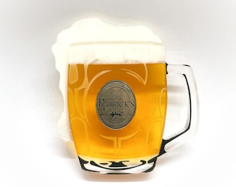 St Patrick's Day amber Beer lager in stein mug made from layered laser cut and hand painted acrylic