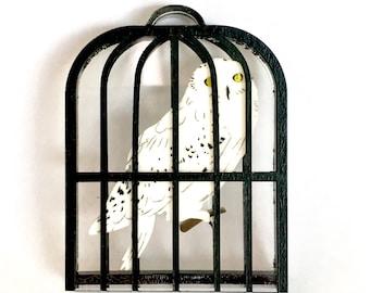 Owl in cage brooch, laser cut acrylic