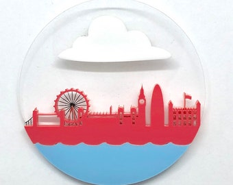LDN Brooch London skyline acrylic Pink raspberry and Blue