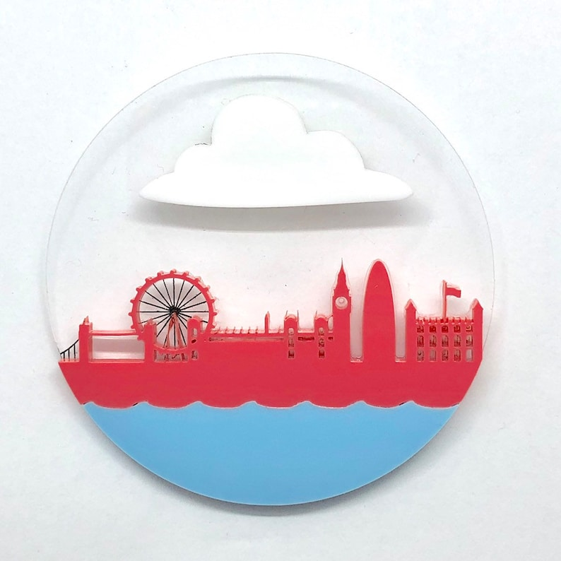 LDN Brooch London skyline acrylic Pink raspberry and Blue image 0