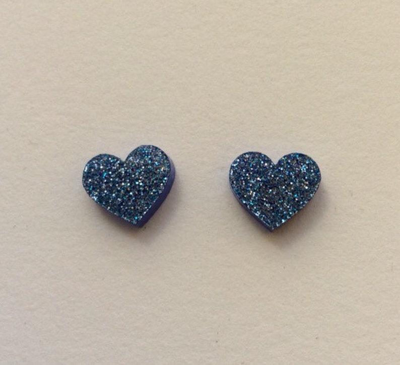Large blue glitter Acrylic / perspex laser cut earrings heart image 0