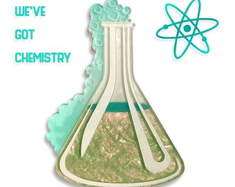 """Green and Iridescent """"We've got Chemistry"""" science experiement beaker test tube layered laser cut acrylic brooch"""
