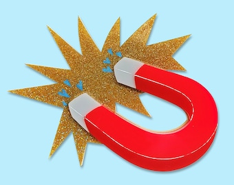 """Red and gold holographic glitter """"Attracted To You"""" magnet brooch layered laser cut acrylic"""