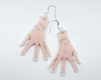 Spooky Hand Earrings - Hook Dangle Earing - Acrylic - Weird Halloween