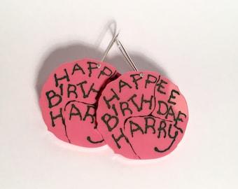 Happee Birthdae Harry Potter Hagrid cake drop earrings, pink birthday cake Philosopher's Stone