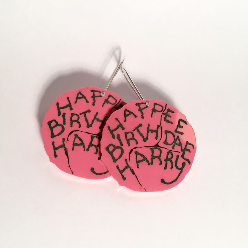 Happee Birthdae Harry Potter Hagrid cake drop earrings pink image 0