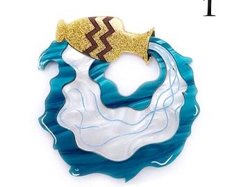 """Aquarius """"The Water Bearer"""" Star Sign Horoscope Laser cut acrylic brooch Water jug"""