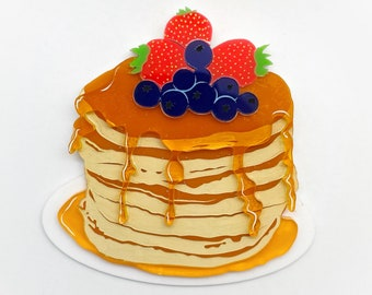"""Brooch """"Flipping fantastic"""" Mothers Day Pancake Stack with Berries and Maple Syrup - Acrylic Brooch"""