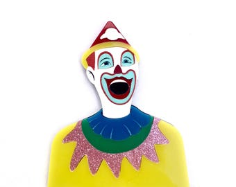 Laughing Clown Ekka carnival game multicolour layered laser cut acrylic brooch Exhibition