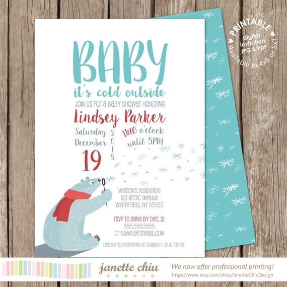 Oso polar sopla los copos de nieve bebé ducha invitación | Etsy