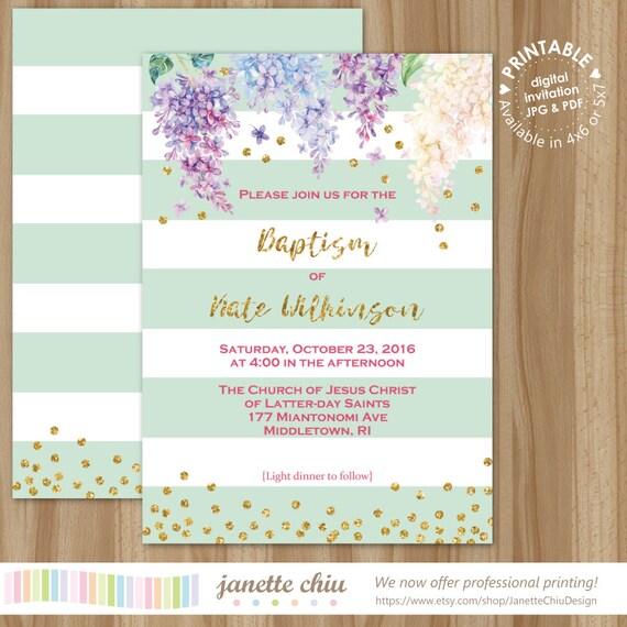 Lila Taufe Einladung Digital bedruckbar oder gedruckte Karten | Etsy