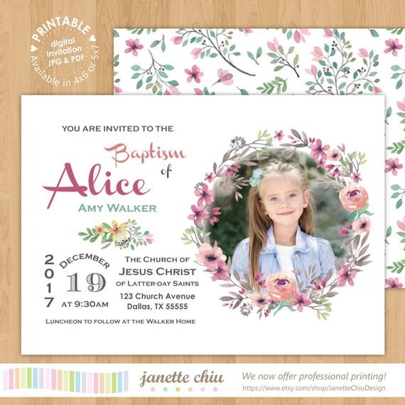 Flores Sud niña bautismo foto invitación Digital para imprimir | Etsy