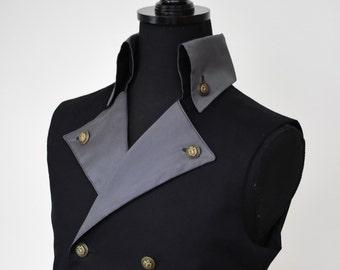 Mens Steampunk Wedding Victorian Vest - Black Pirate Costume Burning Man Festival Halloween Hipster Waist Coat Vest