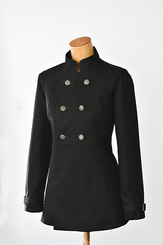 Damen Zweireiher Mantel Steampunk Winterjacke Steampunk moderne zeitgenössische schwarze militärischen gotischen Punk
