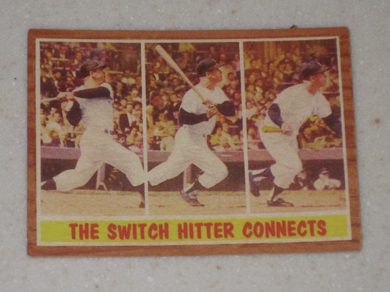 1962 Topps #318 The Switch Hitter Connects New York Yankees Card Mickey Mantle