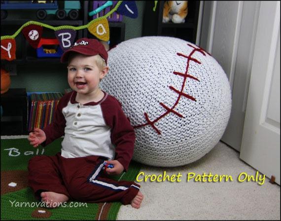 Baseball Bean Bag Chair Pouf Only Crochet Pattern Etsy