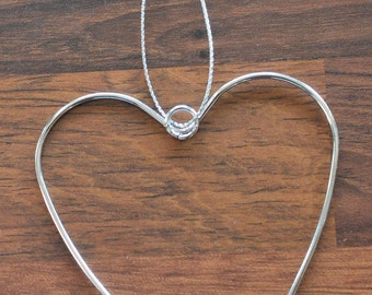 HEARTS DECORATION 5 Hanging Wire Metal Silver Hearts, Art Gift Home Decor Wedding Venue Decoration Favour Ornamental