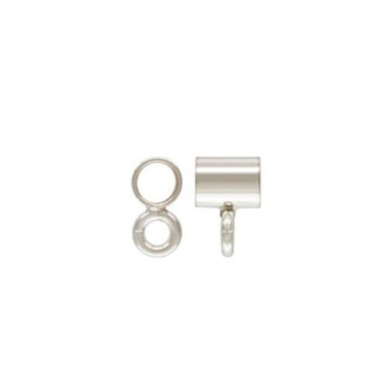 925 Sterling Silver 3x4mm Long Bail Tube With Closed Ring 6pcs