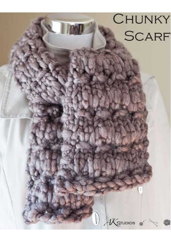 Knit Pattern Thick And Chunky Scarf Etsy