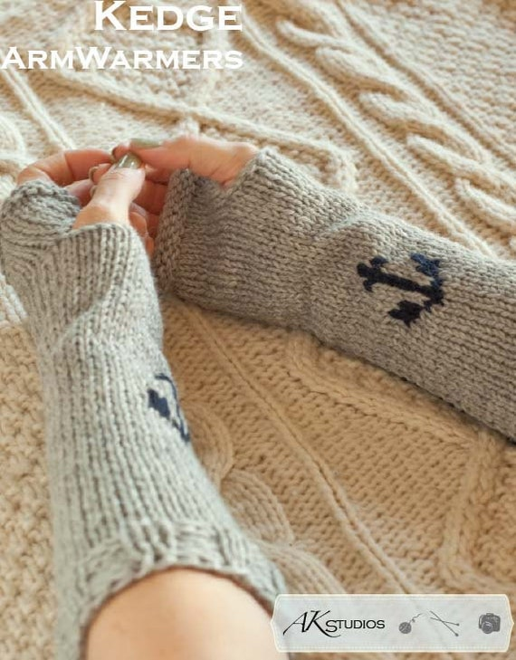 Knitting Pattern Knit Anchor Arm Warmers 12 Inches Long Etsy