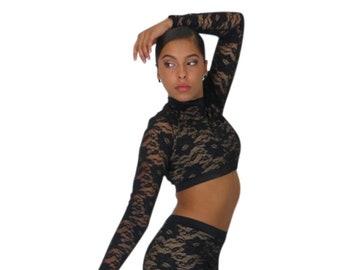 3ac4ec3a9 Lace   skin tone dance halter crop tops for dance teams high