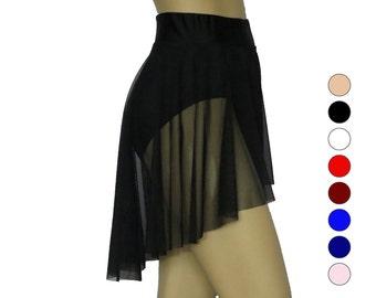 High Waist Sheer Dance Skirt, black, sheer Dance Skirt, mesh High Low skirt with attached briefs, lyrical skirt, custom dance separates