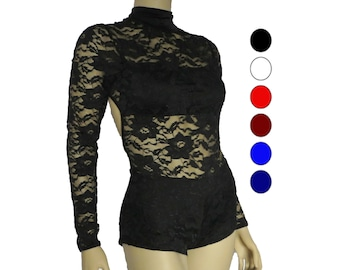 Dance costume, competition dancewear, black lace leotard, boy shorts, long sleeves, open back, lace biketard, red teal wine white dusty rose