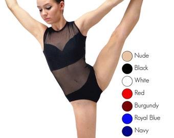 9c714d2f1 Sleeveless mesh leotard base, Choose your color, leotard base, sweetheart  open back, sheer competition leotard, women, girls, black, red