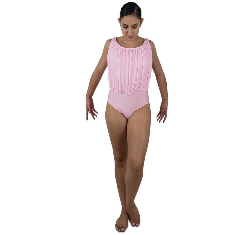 69a4d568592d Gathered mesh leotard with back drape 15 colors boatneck