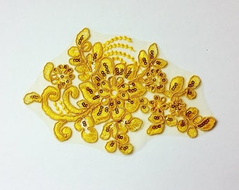 Sequin floral applique - yellow - floral applique - add on to your dance costume or DIY hairpiece