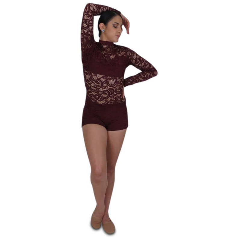 1b5ffb7d2 Long sleeve lace bodysuit wine or other colors Open back   Etsy