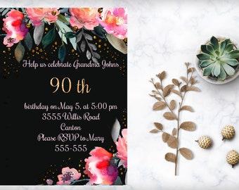 Birthday Invitation Floral Girl Happy 90th Invite Pretty Invitationblack And Red Card