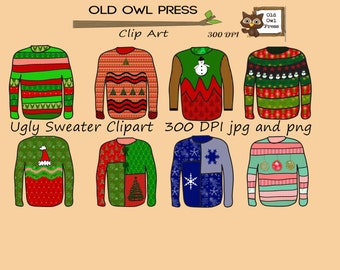 Ugly Sweater Clip art, 300 DPI, png and jpg, 8 designs, hand drawn by me, instant download, commercial use