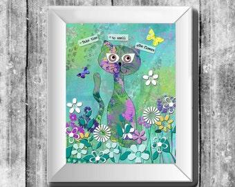 Art print, art decor, art wall decor, cat lovers art, kid's art print, cat art print, instant download, 8 by 10