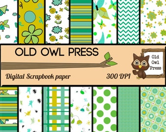 Digital scrapbook, fairy paper, 12 by 12, mint and green,  yellows and greens,  scrapbooking paper, instant download, free commercial use