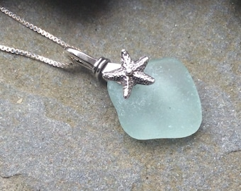 Sea glass jewelry,  Sterling silver starfish and light blue sea glass necklace