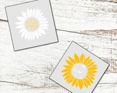 Monogrammed Sunflower Vinyl Decal - Car Decal, Wall Decal, Laptop Decal, Cricut Silhouette Decal, Cup Decal, Tumbler Decal, Wine Glass Decal