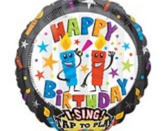 "Jumbo 28""  Happy Birthday (candles) -- JUMBO SING-A-TUNE -- plays ""It's Your Birthday"" -- singing balloon -- mylar -- foil"