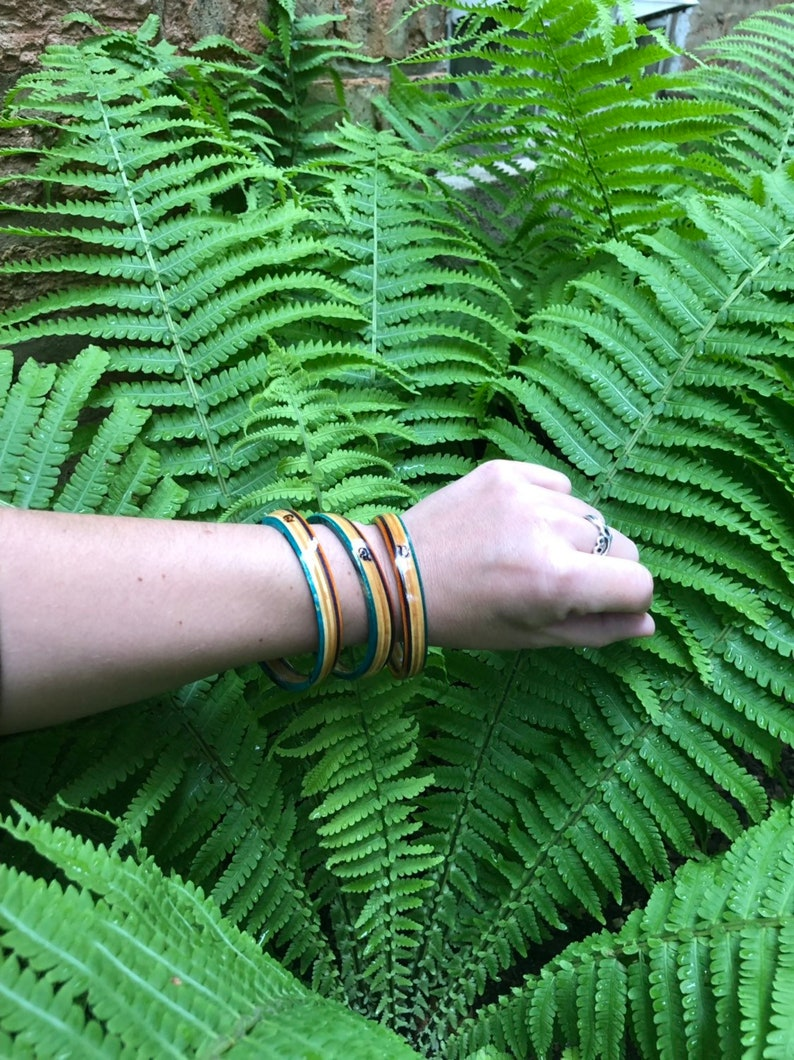 Wood Bangles Made from a Recycled Skateboard (Orange, Purple, Natural, and  Teal)